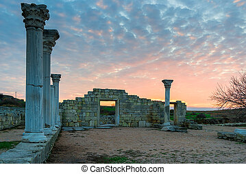 Sightseeing of the Crimea peninsula - ancient Chersonese at sunset near the Black Sea, Russia