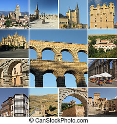 sightseeing Segovia - collage with landmarks of Segovia,...