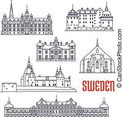 sightseeings, 歴史的, スウェーデン, 建物