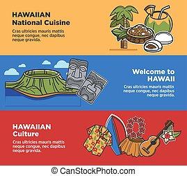 sightseeings, attractions, voyage, hawaï, célèbre, vecteur, cukture, bannières, tourisme, ou, repères