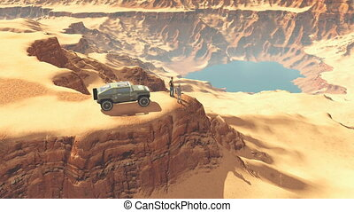 Sightseers on the top of the canyon - Young couple and SUV...