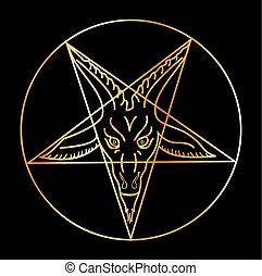 sigil, baphomet-, złoty, satanizm