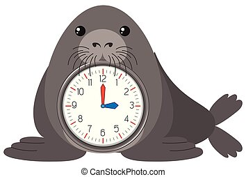 sigillo, cartone animato, sagoma, orologio