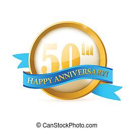 sigillo, nastro, anniversario, illustrazione, 50th