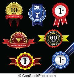 sigillo, nastro, premio, distintivo, trofeo