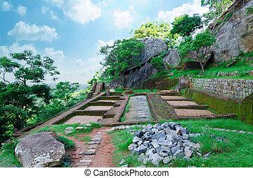 sigiriya, 石, 古代, 中央である, 宮殿, ), (, 台なし, sri, 大きい, 岩, ライオン, lanka