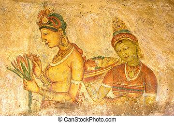 Sigiriya Frescos, Sri Lanka - Image of ancient frescos on...