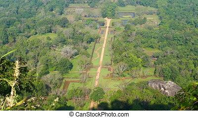 Sigiriya garden in Sri Lanka - view from top of Lion rock