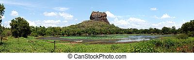 sigiriya, (lion's, 宮殿, 台なし, パノラマ, sri, 古代, rock), 岩, lanka, 要塞