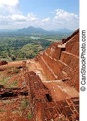 sigiriya, (lion's, 宮殿, 台なし, sri, 古代, rock), 岩, lanka, 要塞, 光景