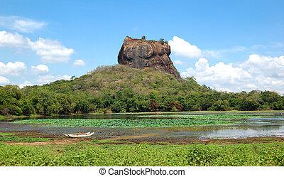 sigiriya, (lion's, 宮殿, 台なし, sri, 古代, rock), 岩, lanka, 要塞