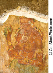 sigiriya, sri lanka, fresco