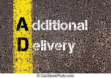 siglas, entrega, anuncio, empresa / negocio, adicional