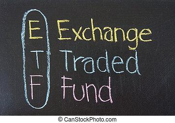 siglas, etf, intercambio, traded, fondo