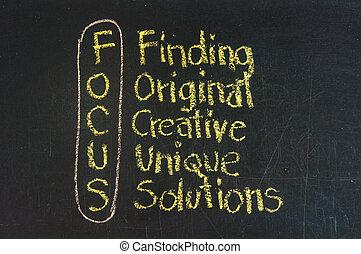 siglas, foco, creativo, soluciones, descubrimiento,...