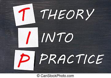 siglas, pizarra, práctica, punta, teoría
