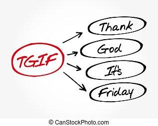 siglas, viernes, tgif, -, agradecer, es, dios