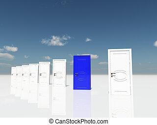 sigle, 藍色的門, 在, 超現實, 風景