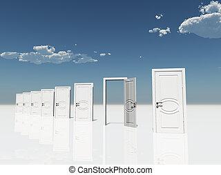 Sigle open door amongst several  in surreal landscape
