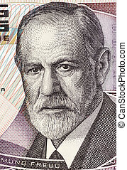 Sigmund Freud (1856-1939) on 50 Shilling 1986 Banknote from...