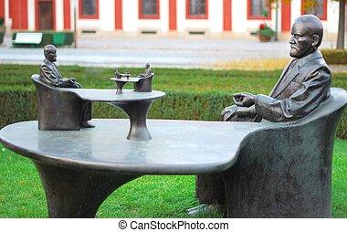 sigmund, prague, statue, freud