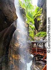 Sigmund Thun Gorge. Cascade valley of wild Kapruner Ache ...