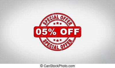 signé, compostage, fermé, 5%, cent, spécial, offre, animation., texte, bois, timbre
