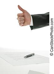 signé, sur, haut, contrat, signe, pouces