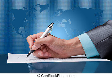sign a contract - businessman hand with pen sign up contract...