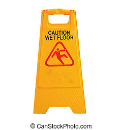 Sign advising caution on wet floor isolated on white