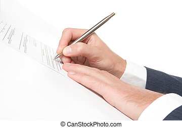 Sign agreement - Signing a contract - hand with pen closeup