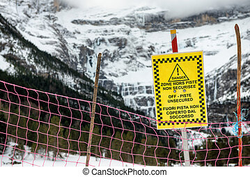 sign alerts off-piste unsecured in french mountains - sign...