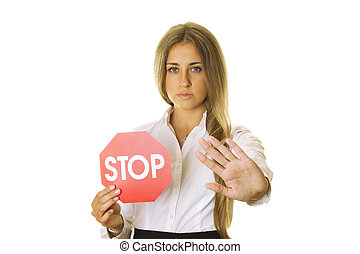 Sign and gesture STOP - Close-up of an attractive young...