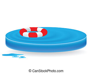 water waves with lifebuoy - sign as blue water waves with...