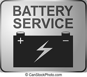 Sign auto service, car fix sign battery service. Banner design vector.