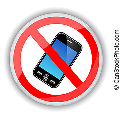 sign banning cell phones - red sign banning cell phones. A...