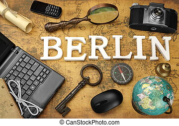 Sign Berlin, Laptop, Key, Globe, Compass, Phone, Camera, Letter, Magnifier