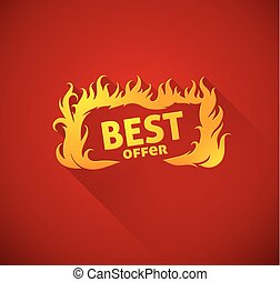 Sign best offer with burning fire silhouette