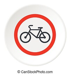 Sign bicycle path icon, flat style