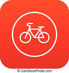Sign bike icon digital red