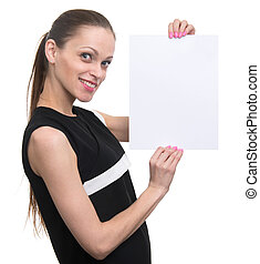 Business woman holding white blank card.