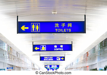 Sign board in airport