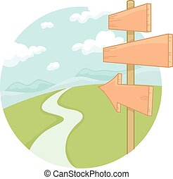 Sign Boards Road - Illustration of Sign Boards along the...