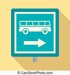 Sign bus stop icon, flat style
