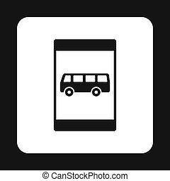 Sign bus stop icon, simple style