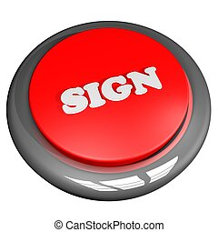 Sign button isolated over white
