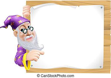Sign Cartoon Wizard - Friendly cartoon wizard with a beard...