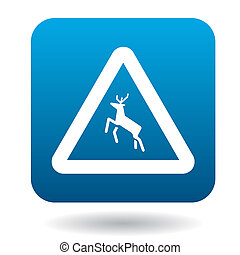 Sign caution deer icon, simple style