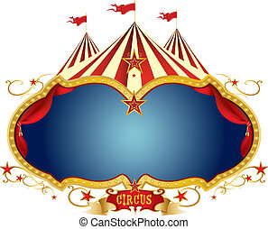 A circus frame with a big top and a large blue copy space for your message.