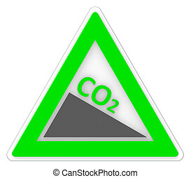Sign Co2 Shows Carbon Footprint And Emission - Warning Co2...